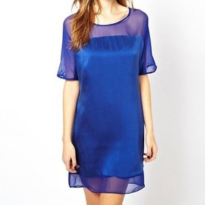 Asos Aryn k royal blue silk dress s